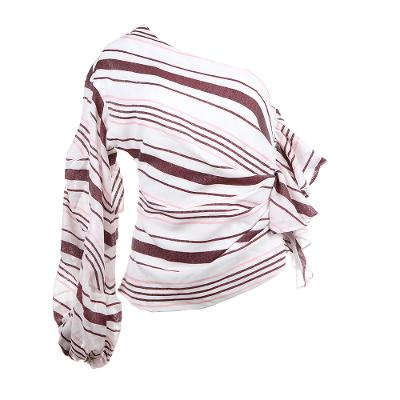 one shoulder unbalanced stripe top multi